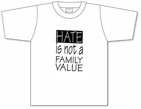 Good catch hate is not a family value screen printed t for Cheap t shirt printing next day delivery